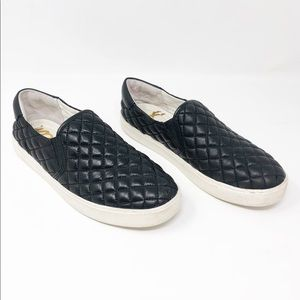 Sam Edelman Black Leather Ezzie Quilted Loafers